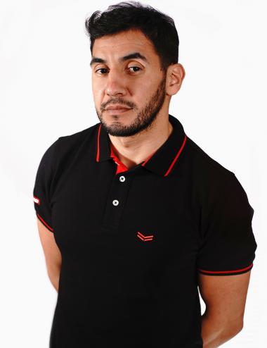 Men's black polo