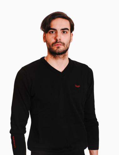 Men's black V-neck jumper