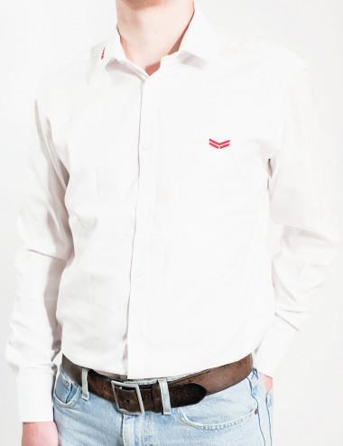 Weißes gesticktes Hemd -...